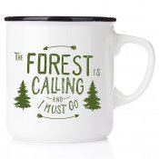 campmug friluftsliv present The forest is calling and I must go emaljmugg