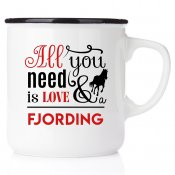 stallmugg hästsko all you need is love and fjording häst present till en ridtjej rider stall stallmugg happy mug emaljmugg
