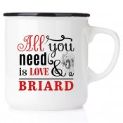 enamel briard älskar briard hundar mug emaljmugg hundmugg All you need is love & drever emaljmugg