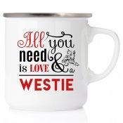 All you need is love & Westie Westie akvarell enamel mug emaljmugg hundmugg West highland white terrier westie present