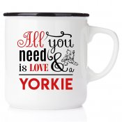 All you need is love & yorkie yorkshire terrier emaljmugg present till yorkie valp älskare happy mug Westie akvarell enamel mu