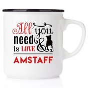 enamel mug amstaff emaljmugg hundmugg All you need is love & drever emaljmugg