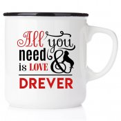 enamel mug emaljmugg hundmugg All you need is love & drever emaljmugg