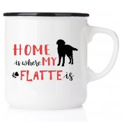 enamel mug emaljmugg hundmugg Home is where my flatte is emaljmugg
