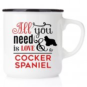 enamel mug emaljmugg hundmugg All you need is love & cockerspaniel present till någon som har en cocker emaljmugg