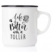 enamel mug emaljmugg hundmuggLife is better with a Flatte emaljmugg med Nova Scotia Duck Tolling retriever. retriever present t