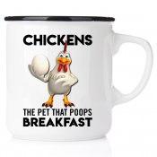 Checkens, pets that poops breakfast Keep Calm and don´t count your chickens hönsmugg i emalj happymug present till hönsälskare h