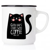Good days start with coffee and cat emaljmugg enamel cats catmug kattmugg