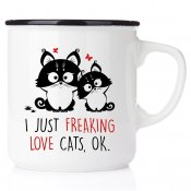 I just freaking love cats, ok All you need is love and a cat emaljmugg med katt enamelmug emalj kaffekopp present till kattälsk