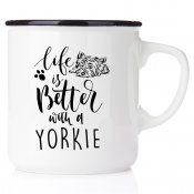 life is better with a yorkie Yorkie Mom All you need is love & yorkie yorkshire terrier emaljmugg present till yorkie valp älsk
