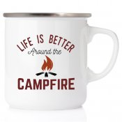 Life is better around the campfire emaljmugg