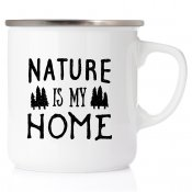 äventyrsmugg nature is my home plåtmugg äventyrare emaljmugg happy mug present till en bergsklättrare let the adventure begin