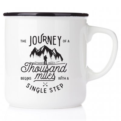 The journey of a thousand miles begins with a single step äventyrsmugg äventyrare emaljmugg happy mug present till en bergsklätt