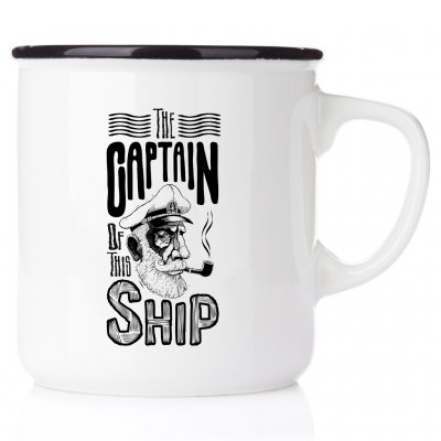 Captain of this ship mug enamelmug emaljmugg Kaptens mugg emaljmugg happy mug