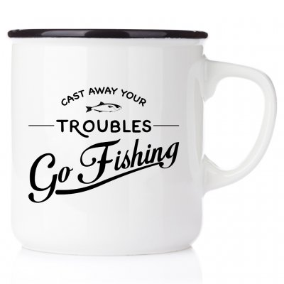 fiskemugg enaljmugg Cast away your troubles - Go Fishing enamel fishing mug mugg emaljmugg