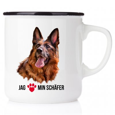 Emaljmugg med schäfer enamel mugg i love schäfer german shepherd
