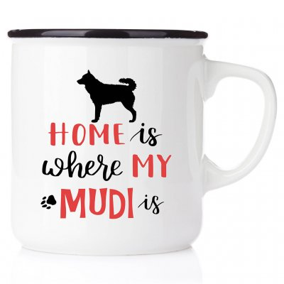 enamel mug emaljmugg hundmugg Home is where my mudi is emaljmugg