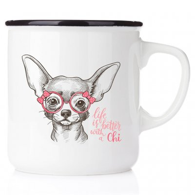 enamel mug emaljmugg hundmugg Life is better whith a Chi emaljmugg