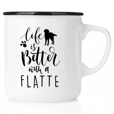 enamel mug emaljmugg hundmuggLife is better with a Flatte emaljmugg med Flatcoated flat coated retriever