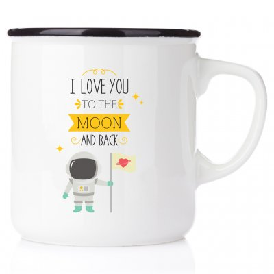 I love you to the moon and back mug happy barnmugg emaljmugg