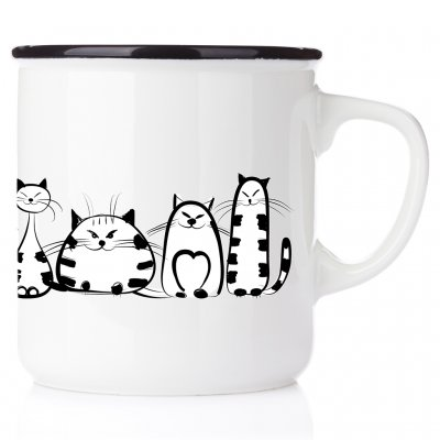 Katter på rad kattmugg I just freaking love cats, ok All you need is love and a cat emaljmugg med katt enamelmug emalj kaffekop