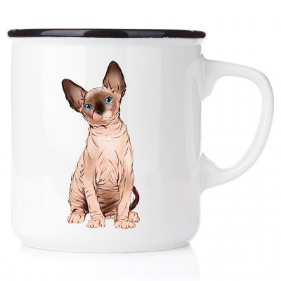 Sphinx katt sitter Good days start with coffee and cat emaljmugg enamel cats catmug kattmugg