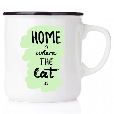 Home is where the cat is emaljmugg med katt enamelmug emalj kaffekopp present till kattälskare