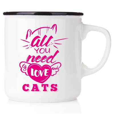 All you need is love and a cat emaljmugg med katt enamelmug emalj kaffekopp present till kattälskare