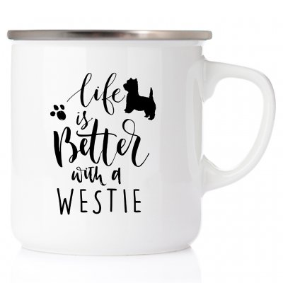 Life is better with a westie All you need is love & Westie Westie akvarell enamel mug emaljmugg hundmugg West highland white te