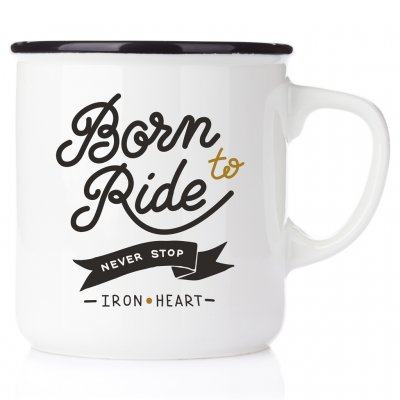 Born to ride. Never stop. Ironheart metallmugg crossmugg kaffe på crossbanan born to ride never stop ironheart happymug emaljmug