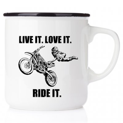 Live it. Love it. Ride it (med tricks) emaljmugg för crossbanan present till en som kör motocross crosskille crossmamma mx