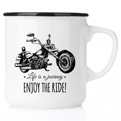 Life is a journey, enjoy the ride NO1 harley davidson metallmugg chopper classic motorcycle happy mug