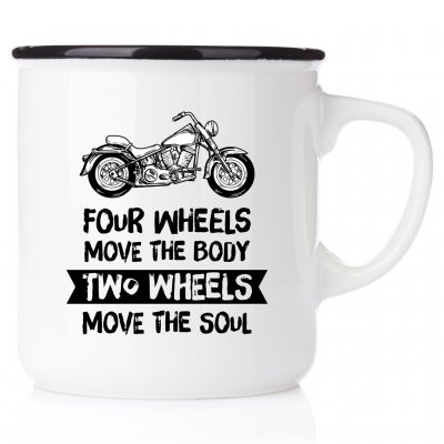 Four wheels move the body, two weels move the soul NO1 harley davidson metallmugg chopper classic motorcycle happy mug