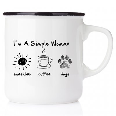 I´m a simple woman - sunshine, coffee, dog emaljmugg med tryck