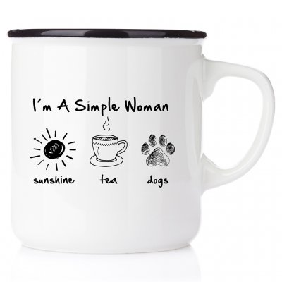 I´m a simple woman - sunshine, tea, dog emaljmugg med tryck