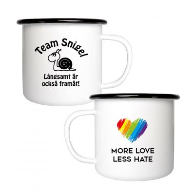 Team Snigel - More love. Less hate. Team snigel emaljmugg Team Snigel - I just felt like running
