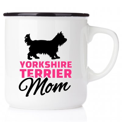 Yorkie Mom All you need is love & yorkie yorkshire terrier emaljmugg present till yorkie valp älskare happy mug Westie akvarel